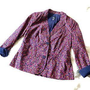 Gap Floral Lined Two Button Blazer w Pockets, Sz 1